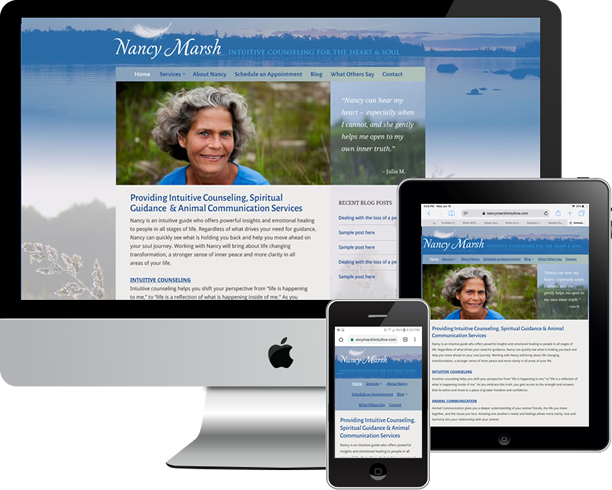 Logo, customer and responsive WordPress site and SEO for Nancy Marsh