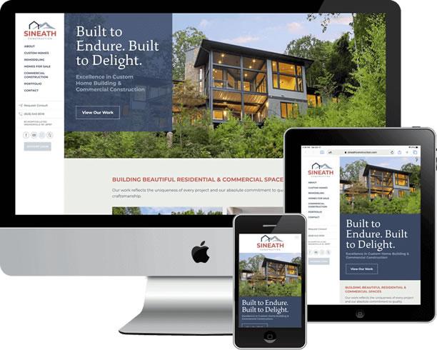 Sineath Construction website, custom design and custom WordPress development