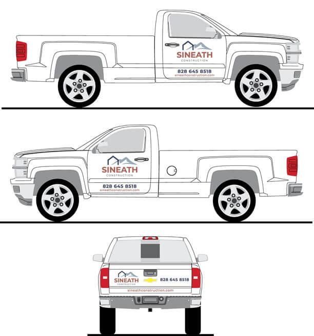 Sineath branding: white truck decals